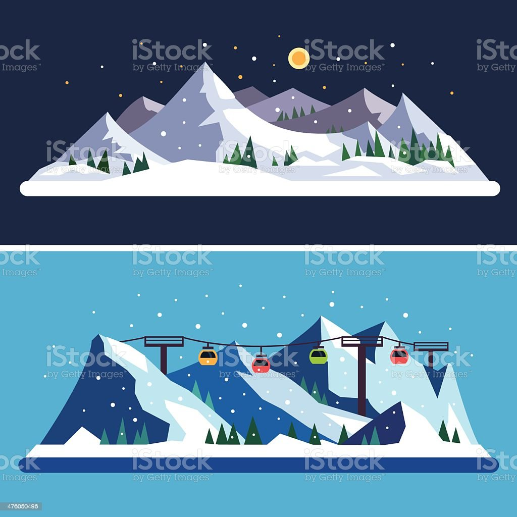 Ski Resort vector art illustration