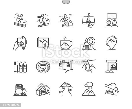 Ski resort Well-crafted Pixel Perfect Vector Thin Line Icons 30 2x Grid for Web Graphics and Apps. Simple Minimal Pictogram