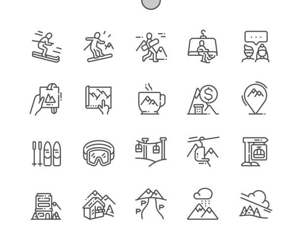 illustrazioni stock, clip art, cartoni animati e icone di tendenza di ski resort well-crafted pixel perfect vector thin line icons 30 2x grid for web graphics and apps. simple minimal pictogram - ski