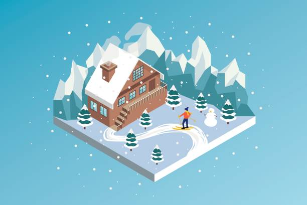 Ski resort winter hotel isometric vector illustration Mountain House cottage stock illustrations