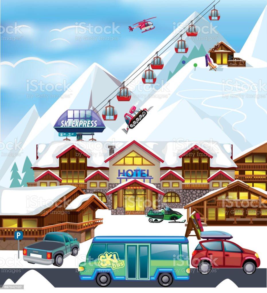 Ski resort winter illustration vector art illustration