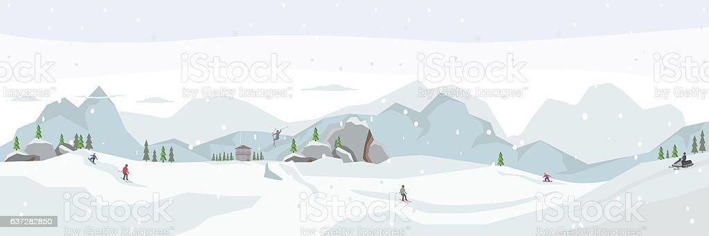 Ski resort. Winter panorama vector art illustration