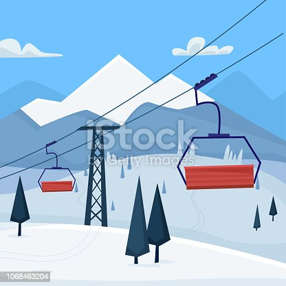Ski resort with lift and  winter mountains landscape. Flat cartoon style vector illustration.