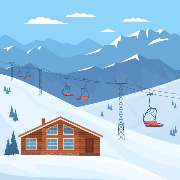 251 Skiing Chalet Illustrations Clip Art Istock
