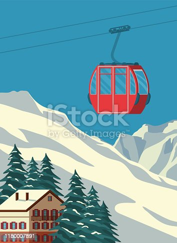 Ski resort with red gondola lift, chalet, winter mountain landscape, snowy peaks and slopes. Alps travel retro poster, vintage banner. Vector flat illustration.