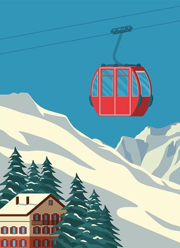 Ski resort with red gondola lift, chalet, winter mountain landscape, snowy peaks and slopes. Alps travel retro poster, vintage banner. Vector flat illustration.