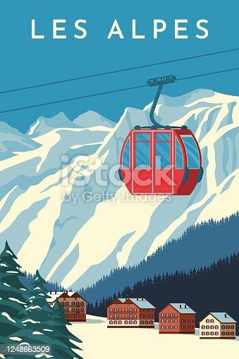 istock Ski resort with red gondola lift, mountain chalet, winter snowy landscape. Alps travel retro poster, vintage banner. Flat vector illustration. 1248663509