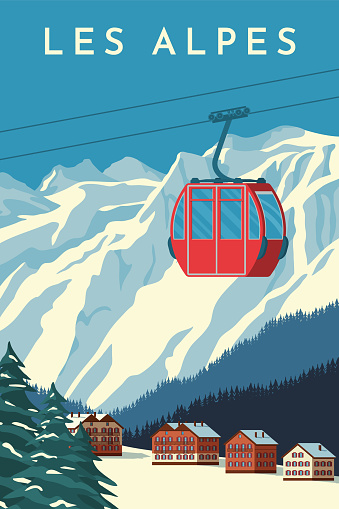 Ski resort with red gondola lift, mountain chalet, winter snowy landscape. Alps travel retro poster, vintage banner. Hand drawing flat vector illustration.