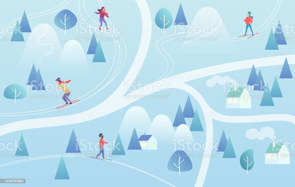 Ski Resort With Skiers Mountain Skiing Map Style Background Winter