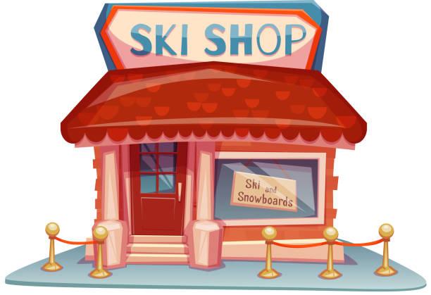 illustrazioni stock, clip art, cartoni animati e icone di tendenza di sci scoprire edificio con brillante banner. illustrazione vettoriale - negozio sci