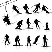 Highly detailed ski silhouettes. Every silhouette is on separate layer.