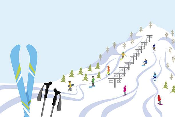 stockillustraties, clipart, cartoons en iconen met ski slope, horizontal - skipiste