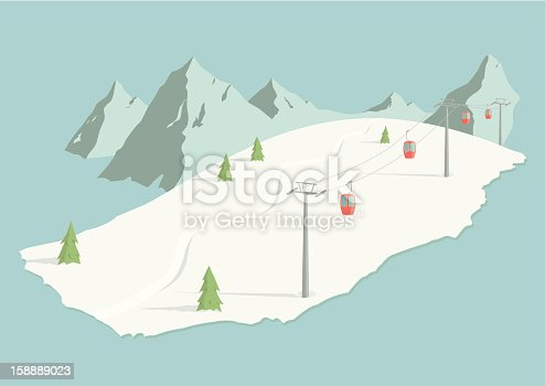 A hand drawn illustration of an alpine ski slope. The bubble lift, trees, set of tracks, and mountains are all on separate layers. This is an EPS 10 vector illustration with CMYK color space.