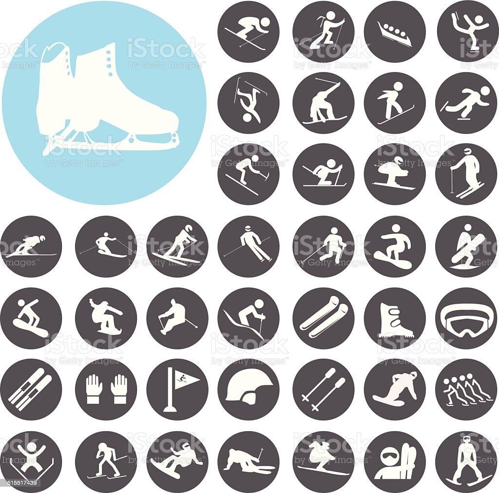 Ski sport icons set. Illustration eps10 vector art illustration