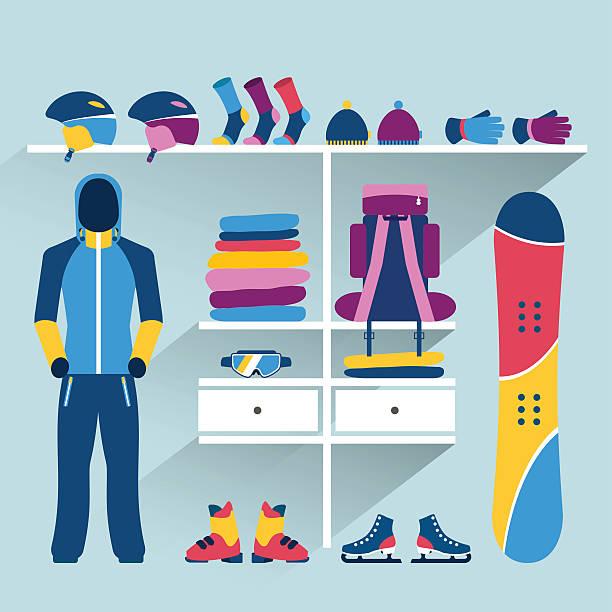 illustrazioni stock, clip art, cartoni animati e icone di tendenza di sci sport negozio. attività invernali boutique indoor. - negozio sci