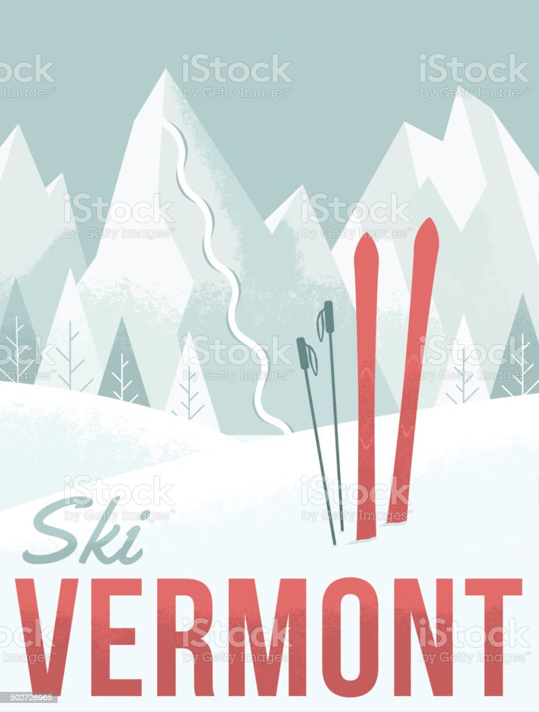 Ski Vermont vector art illustration