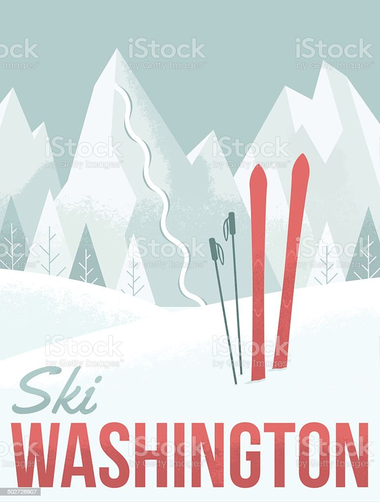 Ski Washington vector art illustration