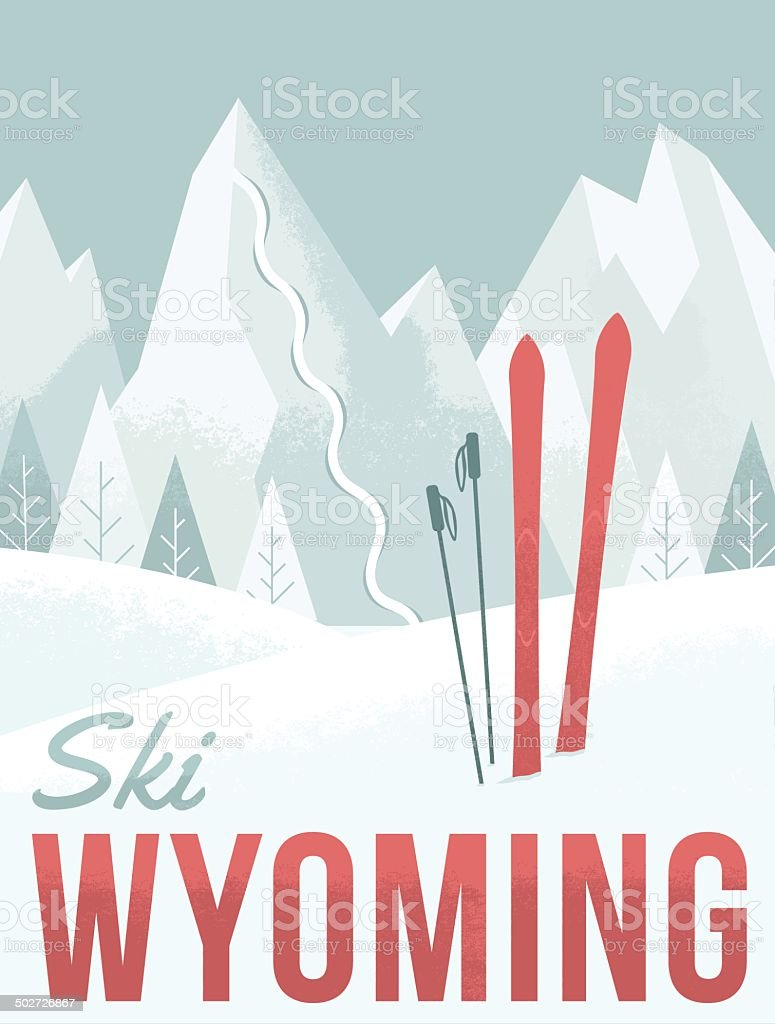 Ski Wyoming vector art illustration