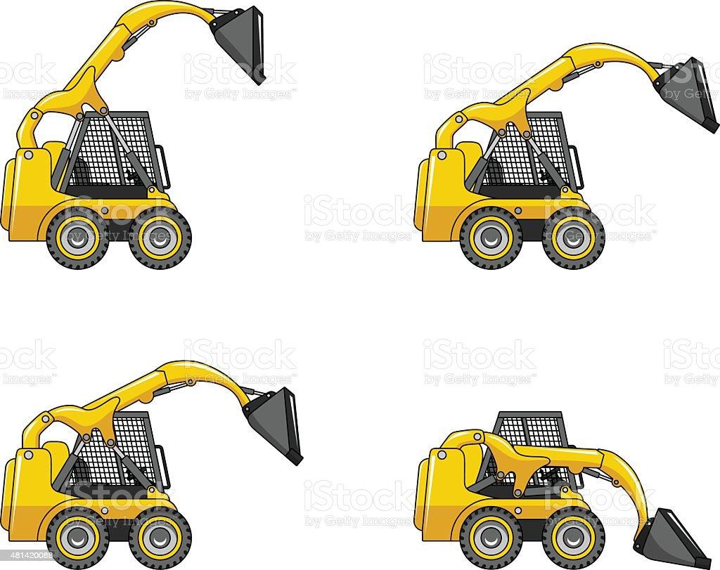 Skid steer loaders. Heavy construction machines. vector art illustration
