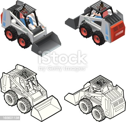 Layered file of Isometric Color and line art mini skid steer loader. Great for small construction projects. Driver included.
