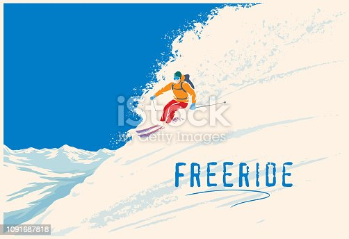 Skier freerider riding down the mountainside on skis in mountain landscape.