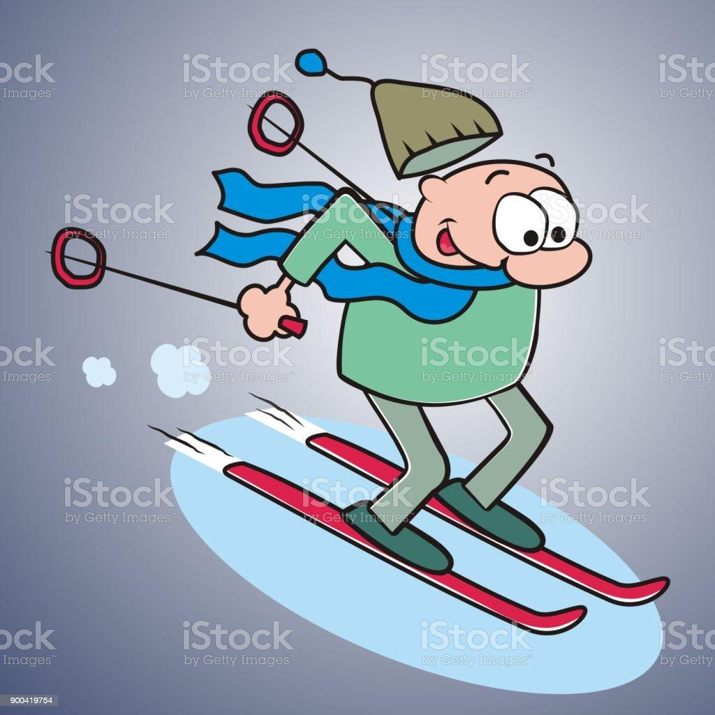 Skifahrer Lustige Illustration Stock Vektor Art Und Mehr Bilder Von