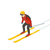 Skier in motion. Man in a red jacket and full sports equipment's.