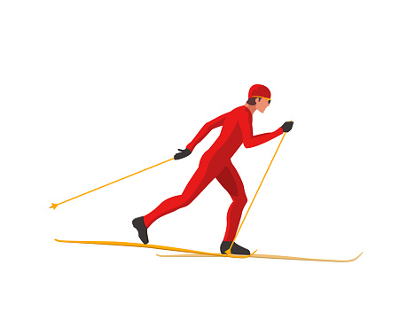 A skier in red sportswear is skiing using Ski poles and skis.
