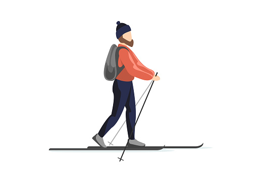 Skier in winter clothes and hat with backpack is skiing. Man training walk on skis. Holiday recreation ski sport activity vector illustration