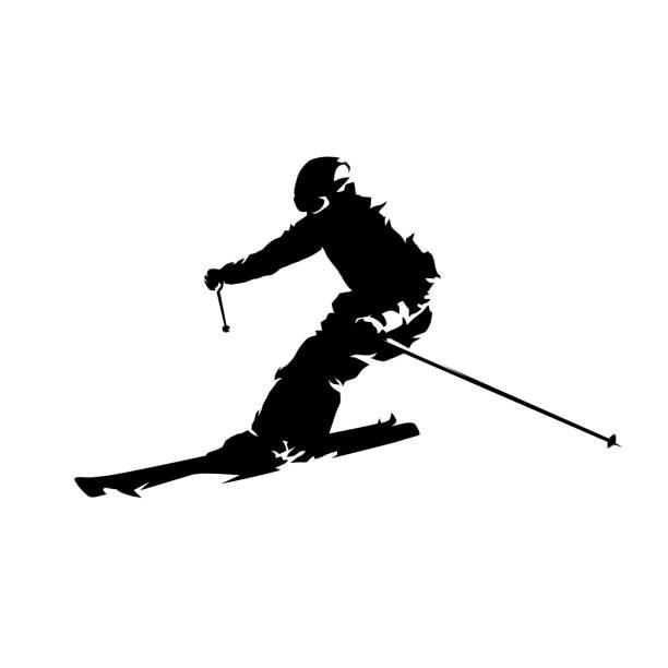 illustrazioni stock, clip art, cartoni animati e icone di tendenza di skier, isolated vector silhouette. downhill skiing - ski