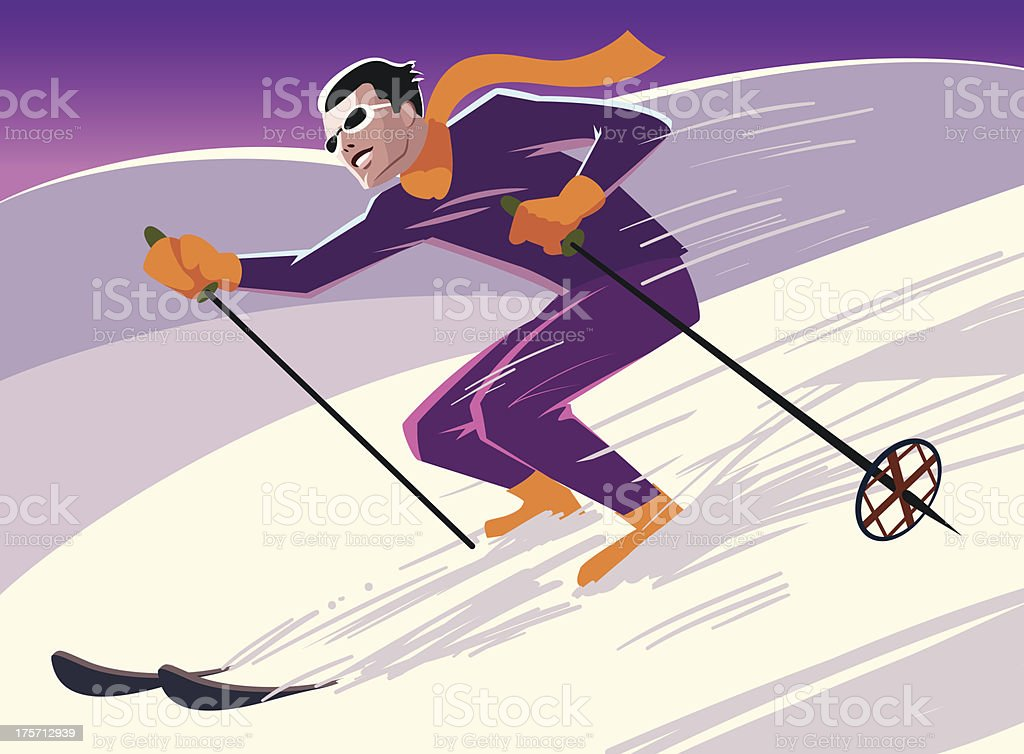 skier slides from the mountain royalty-free stock vector art