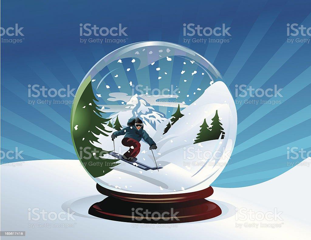 Skier Snow Globe royalty-free stock vector art