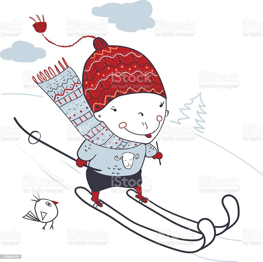 Skier vector art illustration