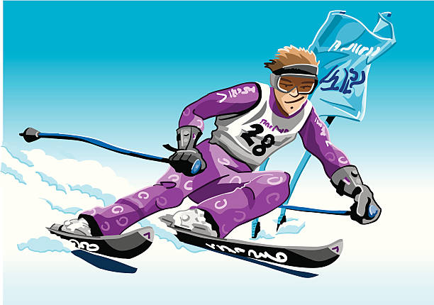 """Skier Violet """"Vector Illustration of a giant slalom skier with a violet suit. The background is on a separate layer, so you can use the illustration on your own background. The colors in the .eps and .ai-files are ready for print (CMYK). Included files: EPS (v8), AI (CS2) and Hi-Res JPG."""" winter sport stock illustrations"""