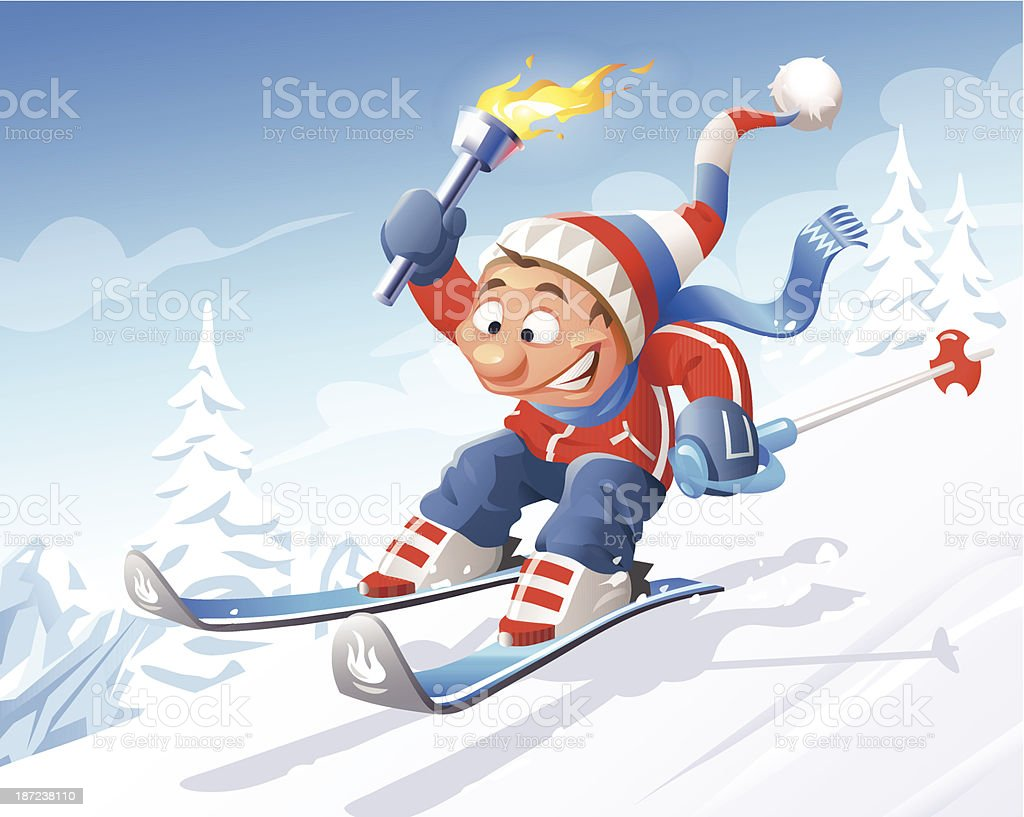 Skier With Olympic Torch royalty-free stock vector art