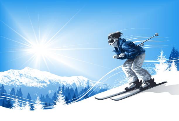 illustrations, cliparts, dessins animés et icônes de skieur avec soleil et les montagnes - ski