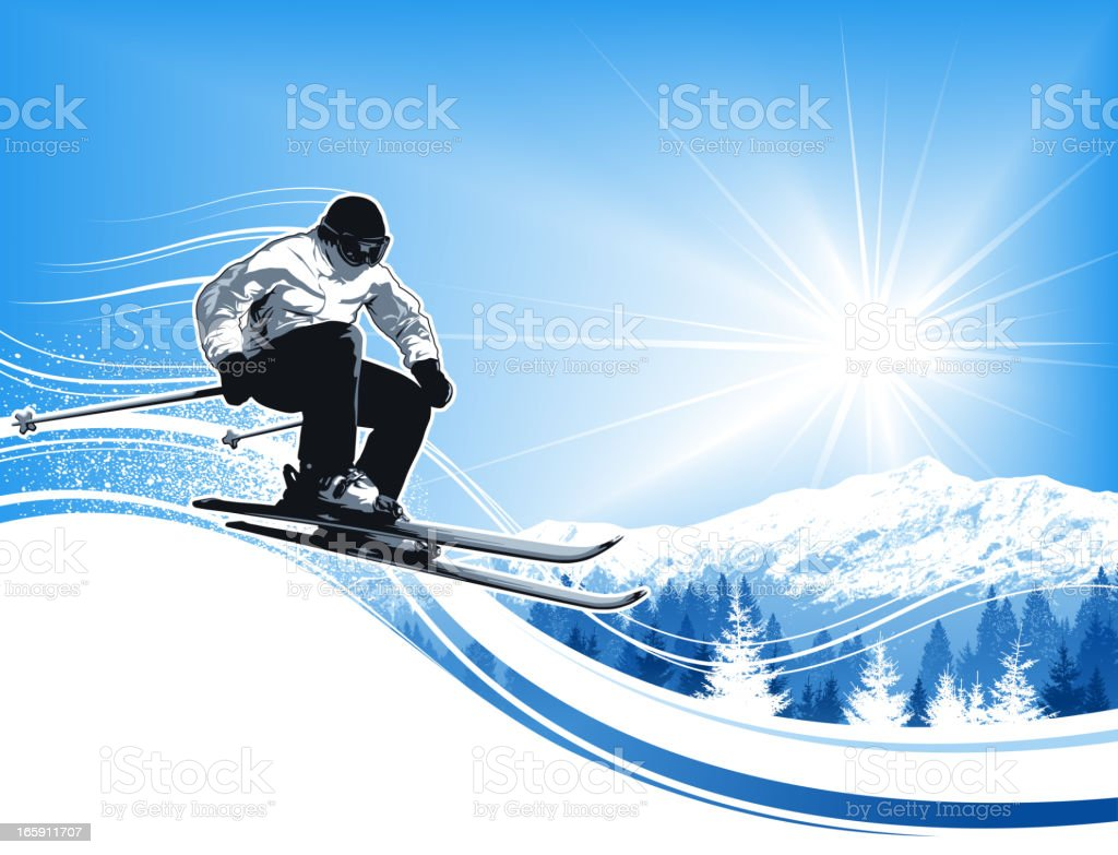 Skier with sun and mountains royalty-free stock vector art