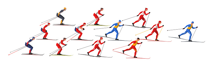 Skiers in sportswear are skiing using Ski poles and skis. Athletes participate in winter sports competition.