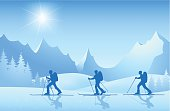 Skiers on tour in the mountains at sunshine. Download contains EPS 8, AI 8, AI CS5, PDF, JPEG (8932 x 5816 px).