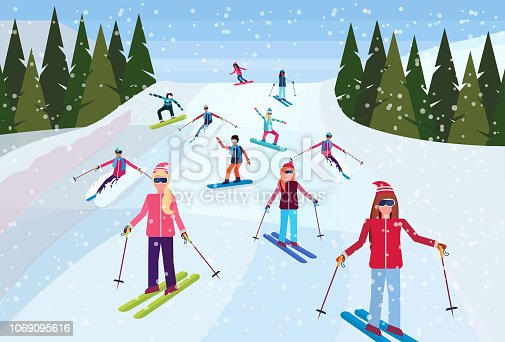 skiers sliding down snowy mountain hill fir tree landscape background people skiing winter vacation concept flat horizontal vector illustration