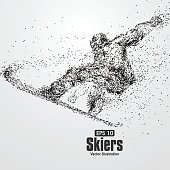 Skiers,particle divergent composition, vector illustration.