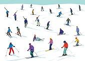Seasonal winter scene with skiers. Loads of detail. EPS10 file, CS5 version in zip.