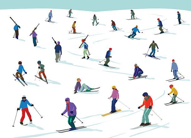 skiiing spaß - skifahren stock-grafiken, -clipart, -cartoons und -symbole