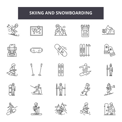 Skiing and snowboadrding line icons, signs, vector set, linear concept, outline illustration