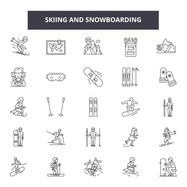 illustrazioni stock, clip art, cartoni animati e icone di tendenza di skiing and snowboadrding line icons, signs, vector set, linear concept, outline illustration - ski