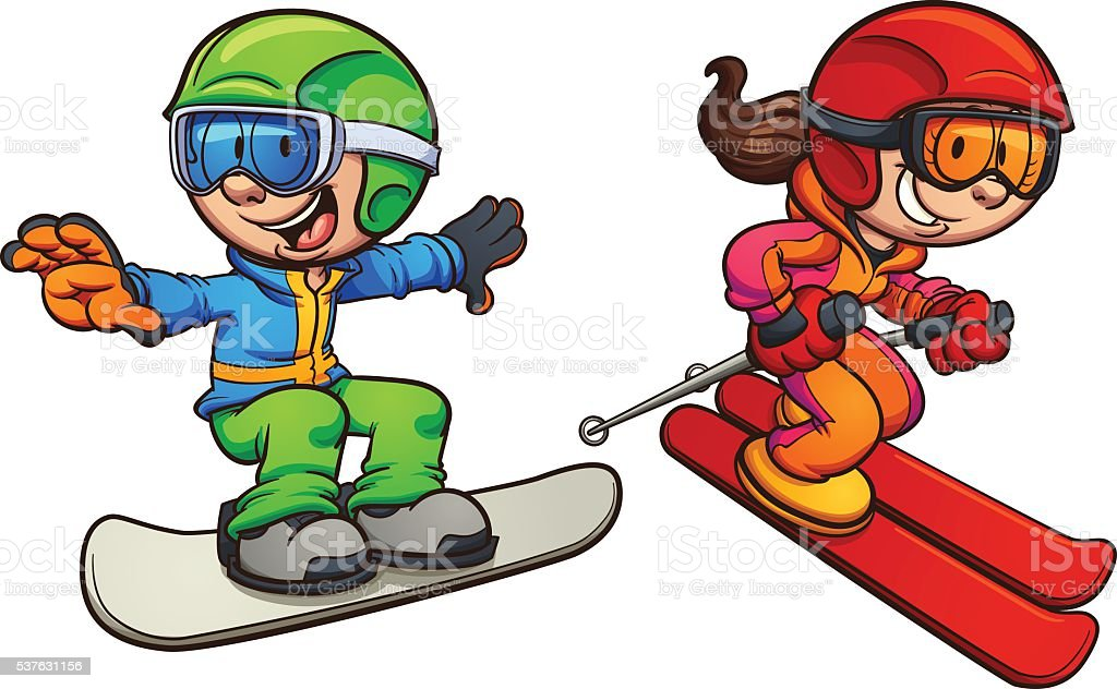 Skiing And Snowboarding Kids Stock Vector Art More Images Of Boys