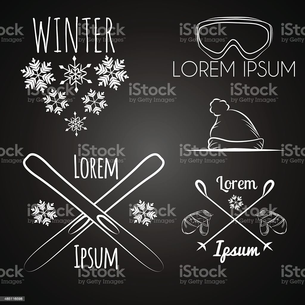 Skiing And Winter Set On Chalkboard Background Stock Vector Art