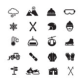 Skiing and Winter Sport Icon, Set of 16 editable filled, Simple clearly defined shapes in one color.
