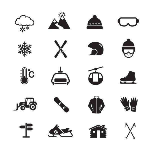 illustrazioni stock, clip art, cartoni animati e icone di tendenza di skiing and winter sport icon. - ski