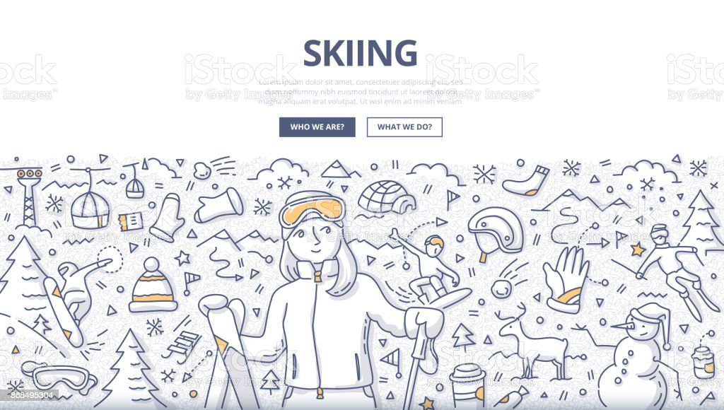 Skiing Doodle Concept vector art illustration